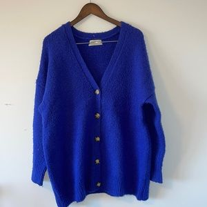 Urban outfitters oversized button up cardigan royal blue size small